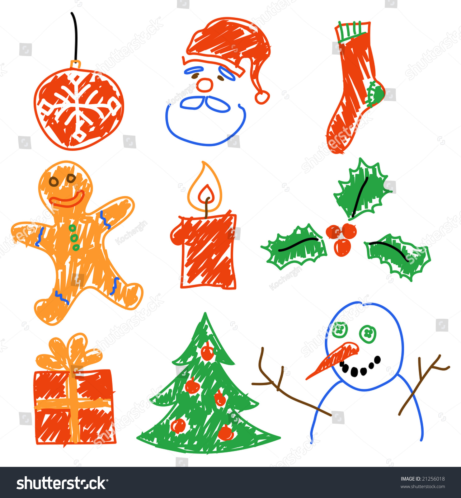 Hand Drawing Christmas Decorations. Santa, Snowman, Cookie