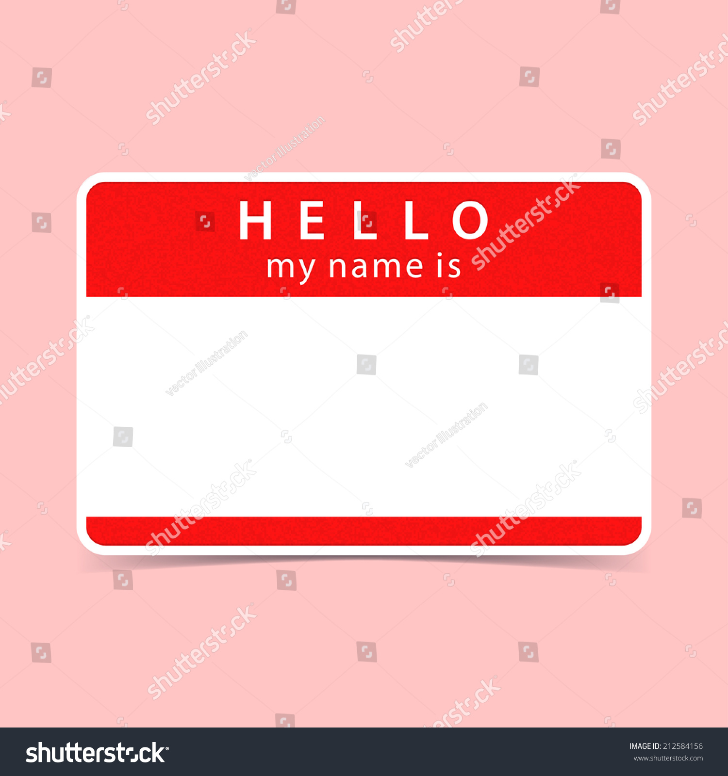 H tag background image - Red Name Tag Blank Sticker Hello My Name Is Rounded Rectangular Badge With Gray Drop
