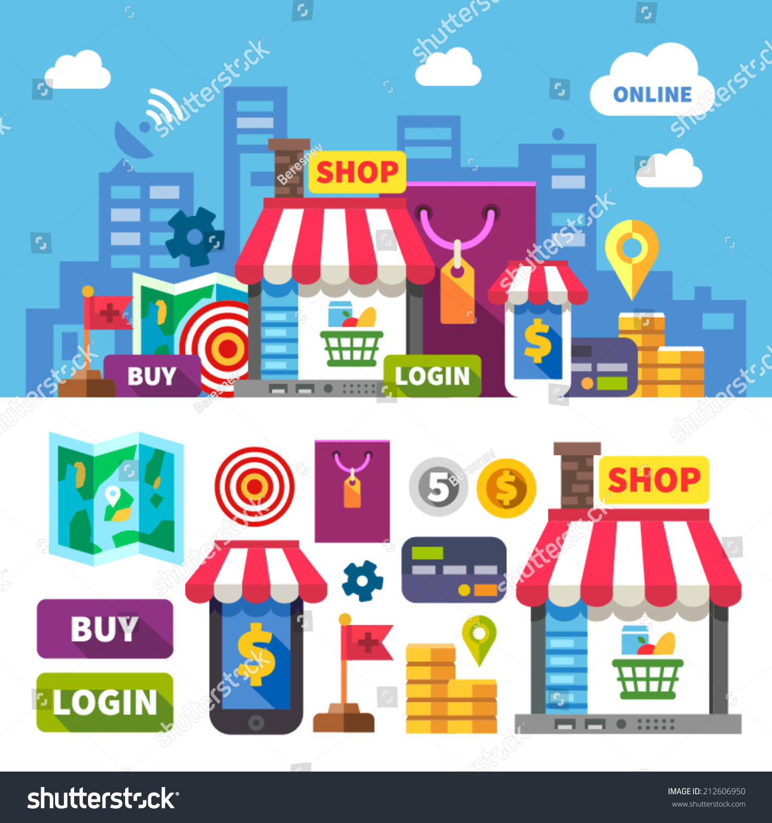 Cooking Stores Online: Online Shopping. Color Vector Flat Icon Set And