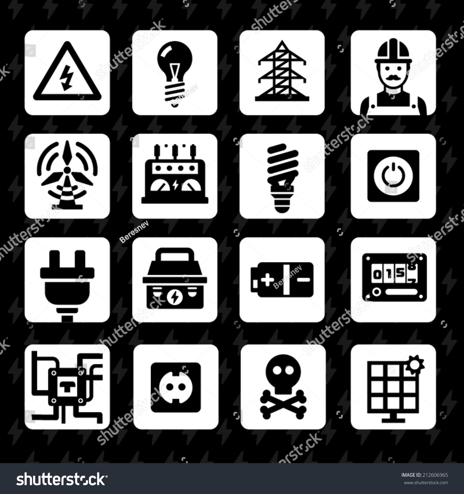 Electricity Light Vector Flat Icon Set Stock Photo (Photo, Vector ...