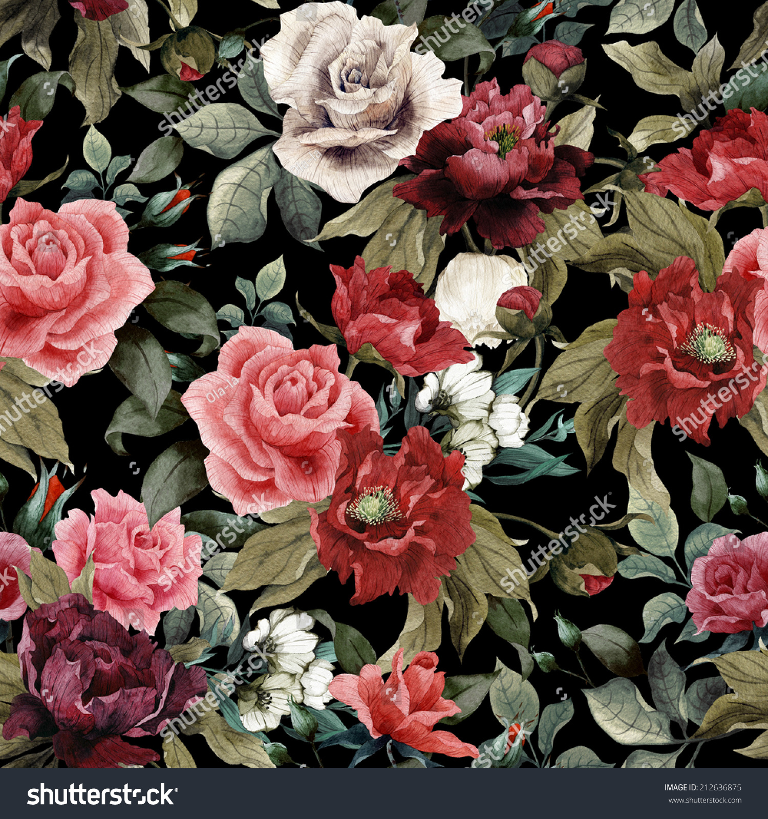 Seamless Floral Pattern Pink Roses Peonies Stock Illustration
