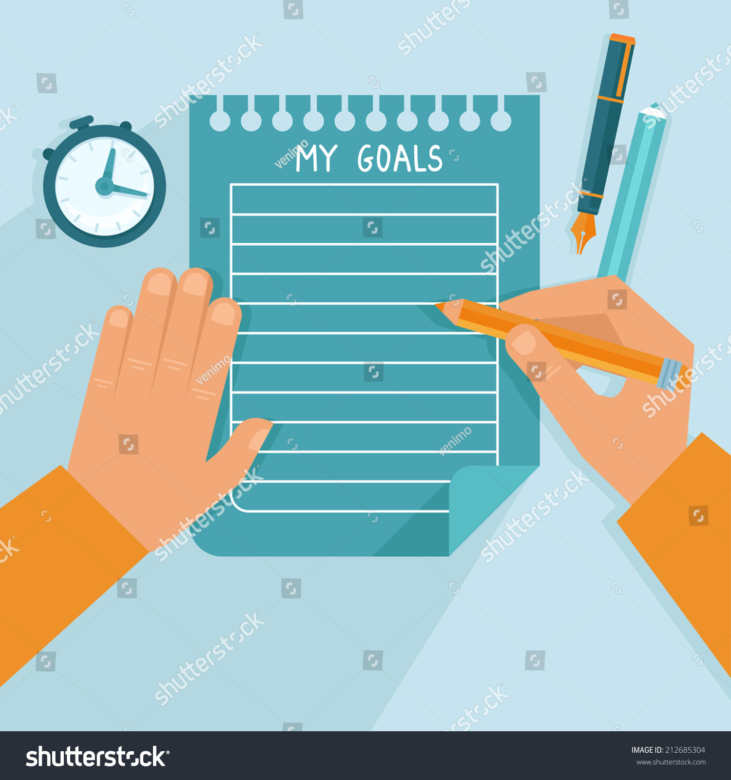 vector personal goals list flat style stock vector 212685304 vector personal goals list in flat style man writing on the notebook page