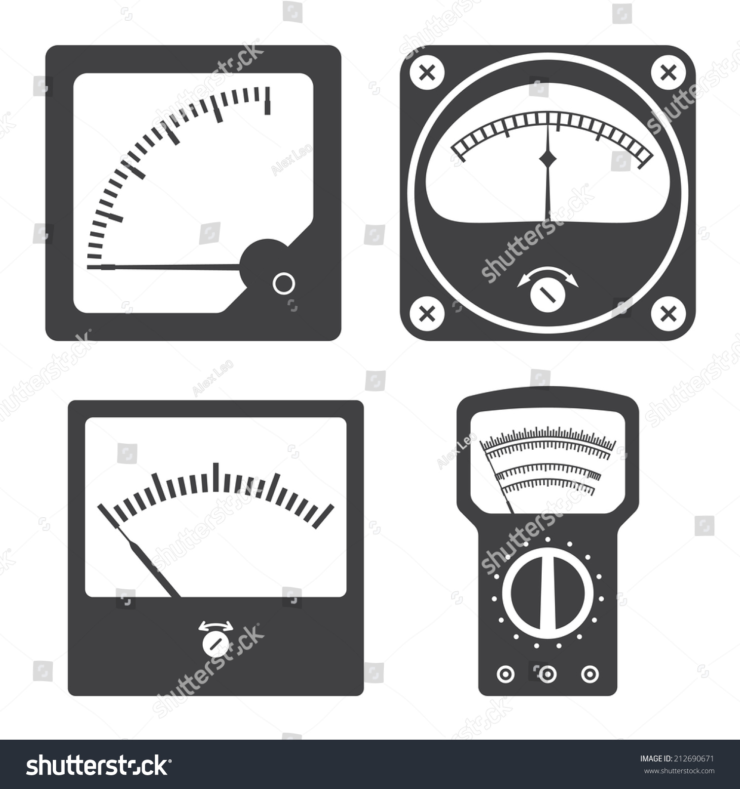 Electrical Measuring Instruments Market : Icons electrical measuring instruments vector illustration