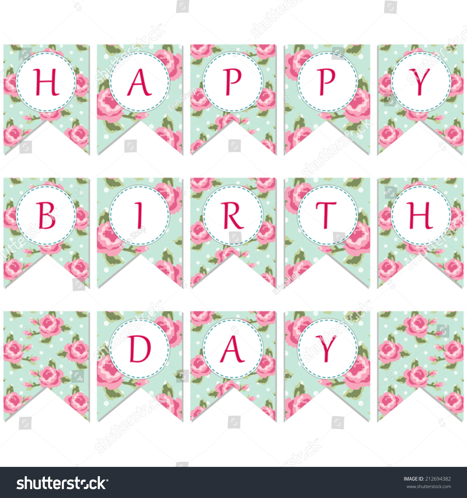 Vector bunting flags lovely celebration card with colorful paper - Festive Vintage Bunting Flags With Roses In Shabby Chic Style