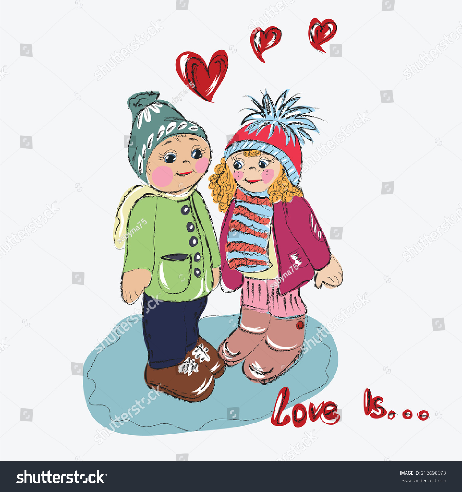 Sketch cartoon couple love boy girl heart