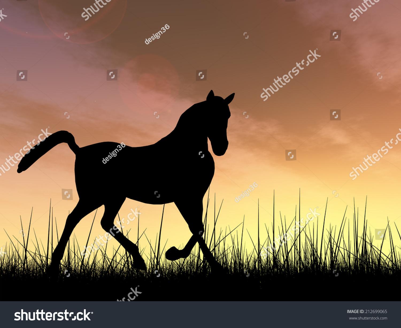 Concept Conceptual Young Beautiful Black Horse Stock Illustration 212699065