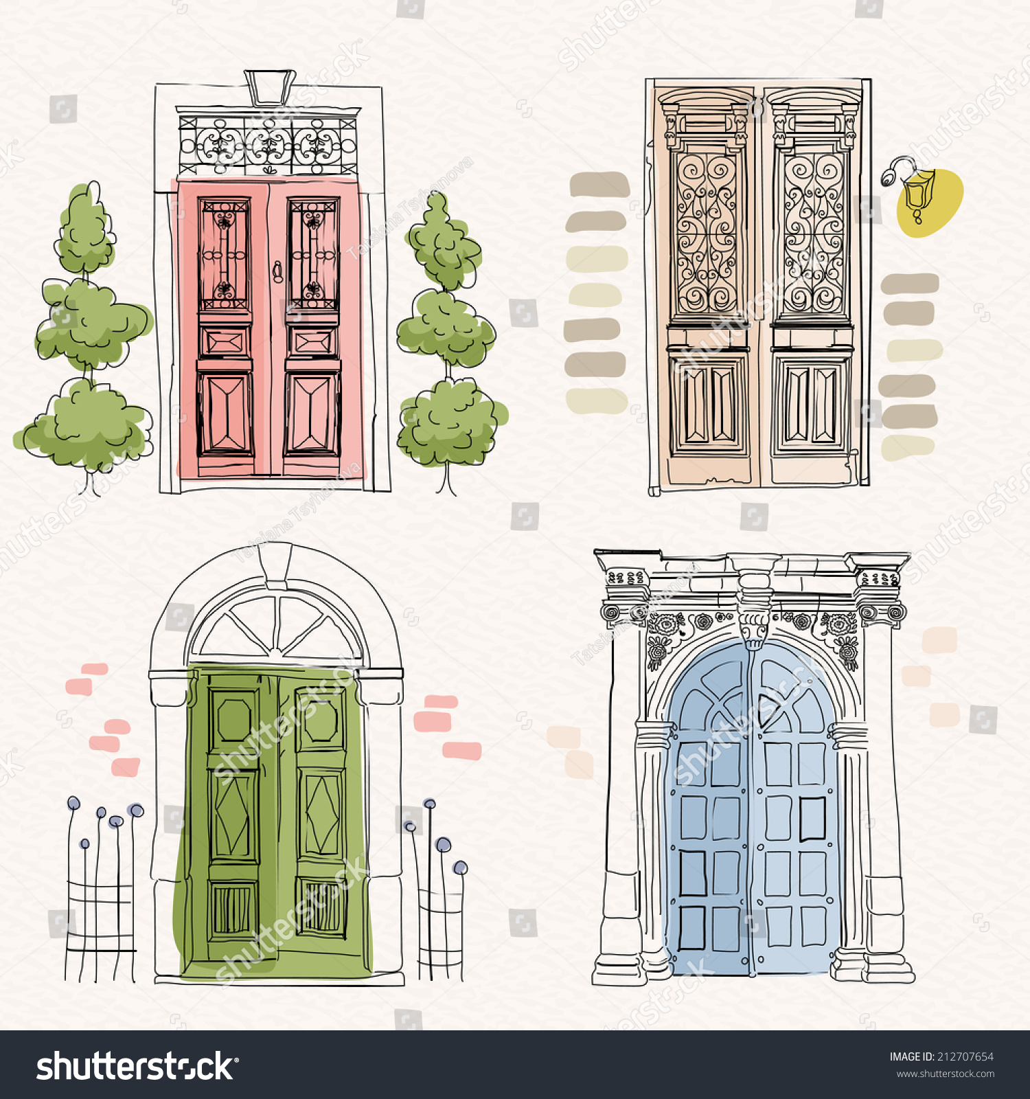 Old doors vintage style on watercolor stock vector for Window design sketch