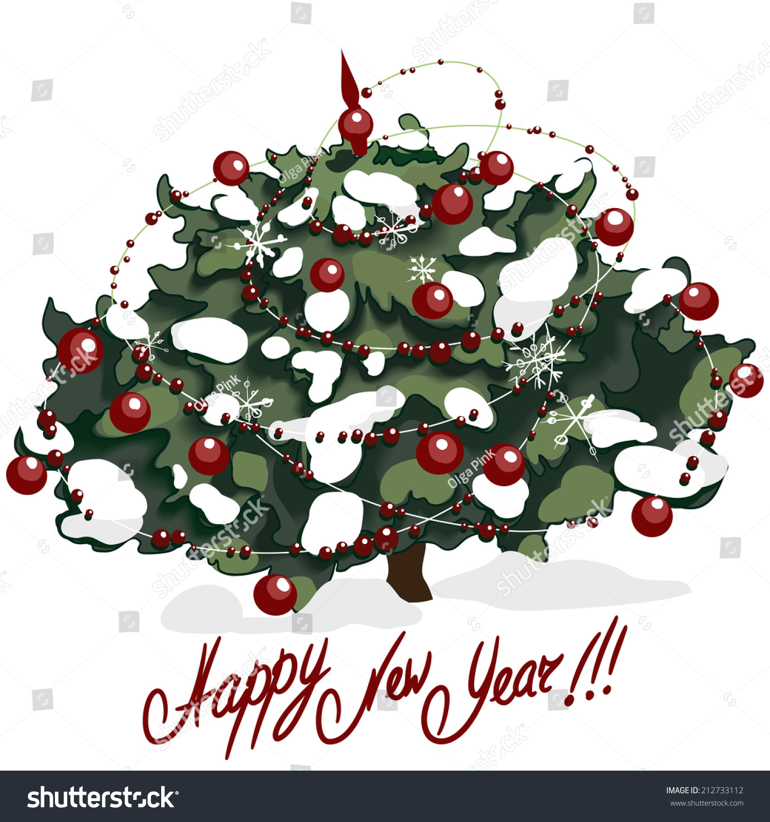 Christmas Tree Decorated Red Beads Isolated Stock Illustration