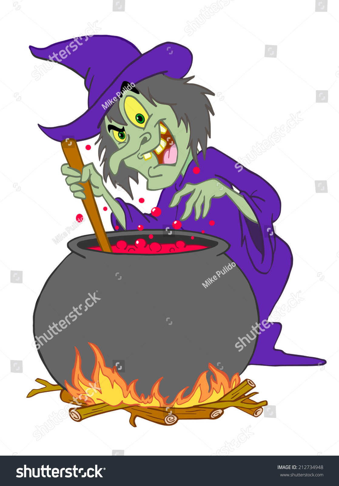 hand drawn cartoon halloween witchwitches brew stock illustration