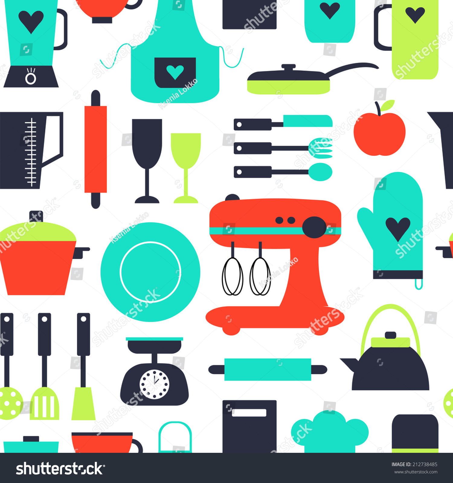 Seamless Pattern Kitchen Elements Used Wallpaper Stock Vector