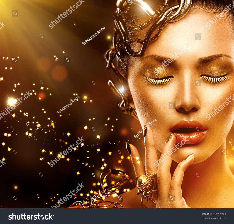A Nail Art Beauty Salon Fashion Makeover Game For Girls: Beautiful Magic Woman Portrait Golden Makeup Stock Photo