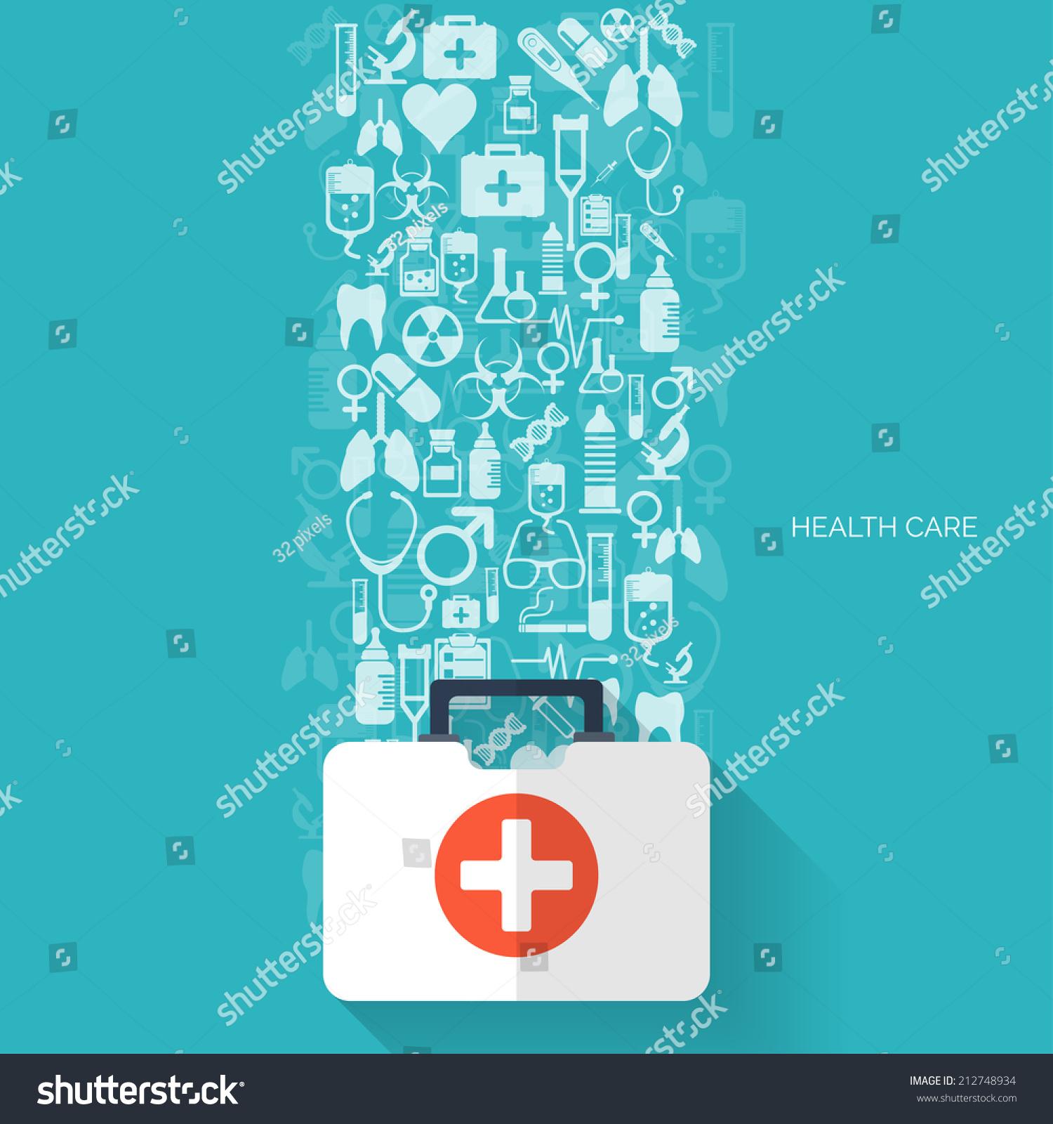 Medical Flat Vector Backgroundhealth Carefirst Aid International