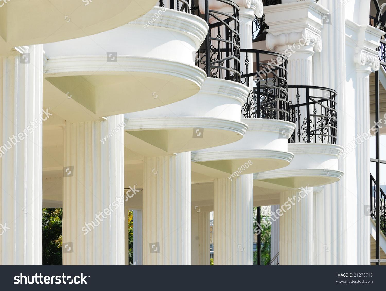 Balcony Pillars White Archaic Building Stock Photo (Safe to Use ...
