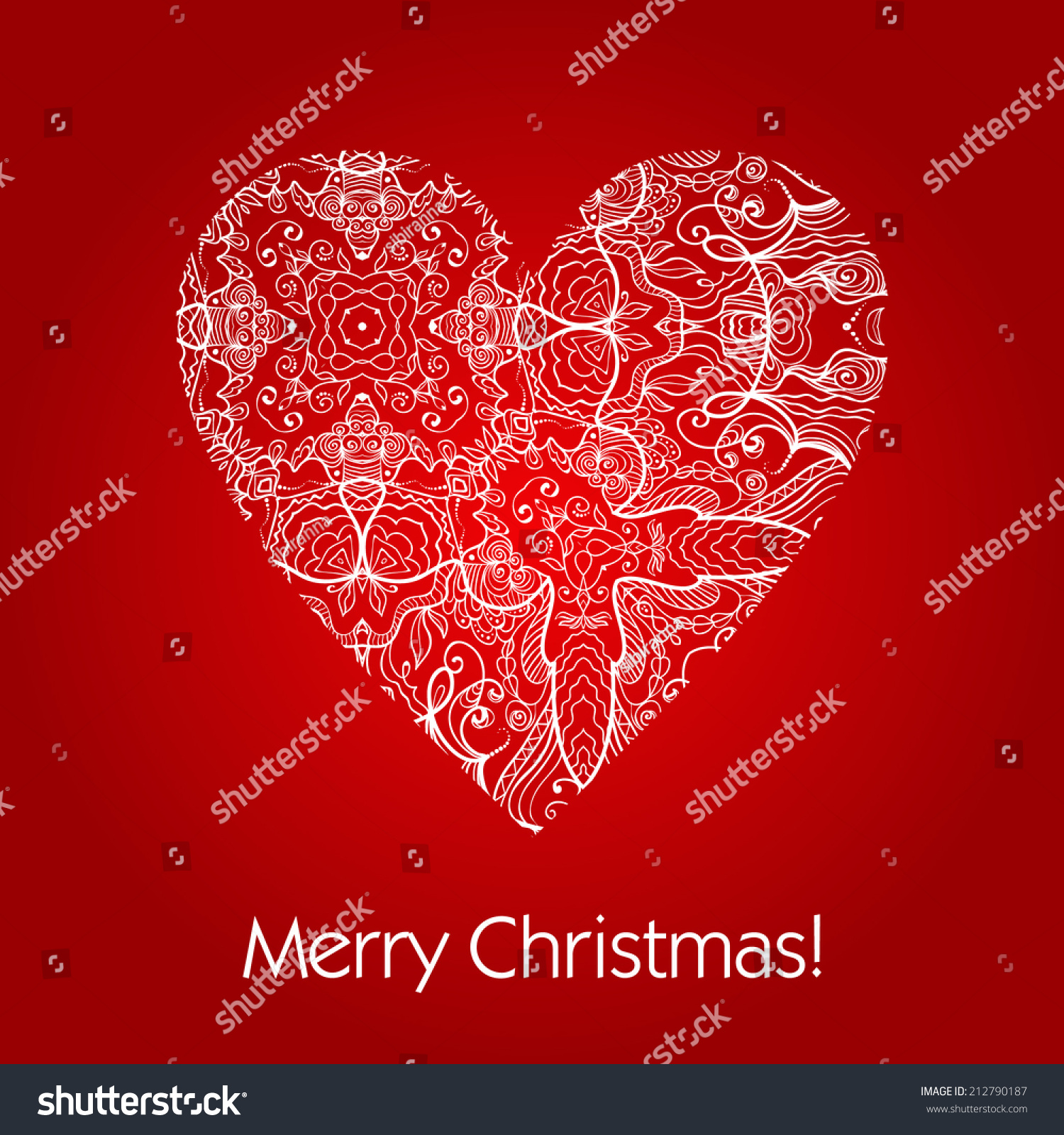 Merry Christmas Love Greeting Card White Stock Vector Royalty Free