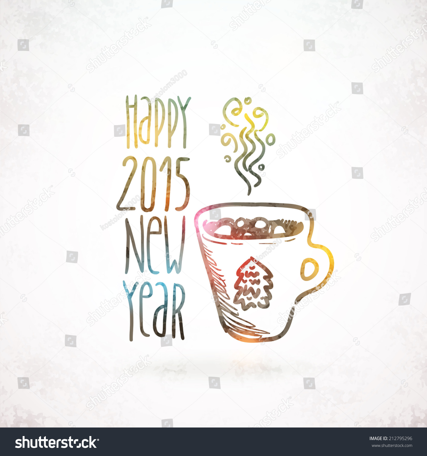 Cute Sketch Doodle Happy New Year Background With Cacao And Marshmallow Stock Vector Illustratie