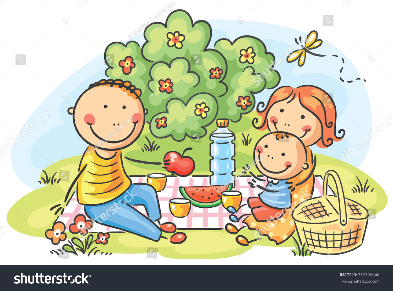 ... cartoon family having picnic outdoors stock ~ Picnic Table Cartoon