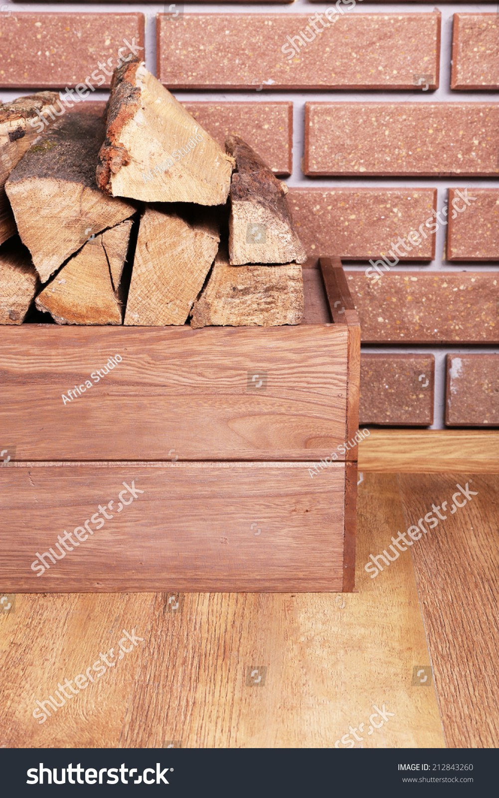 Wooden Box Firewood On Floor On Stock Photo Edit Now 212843260