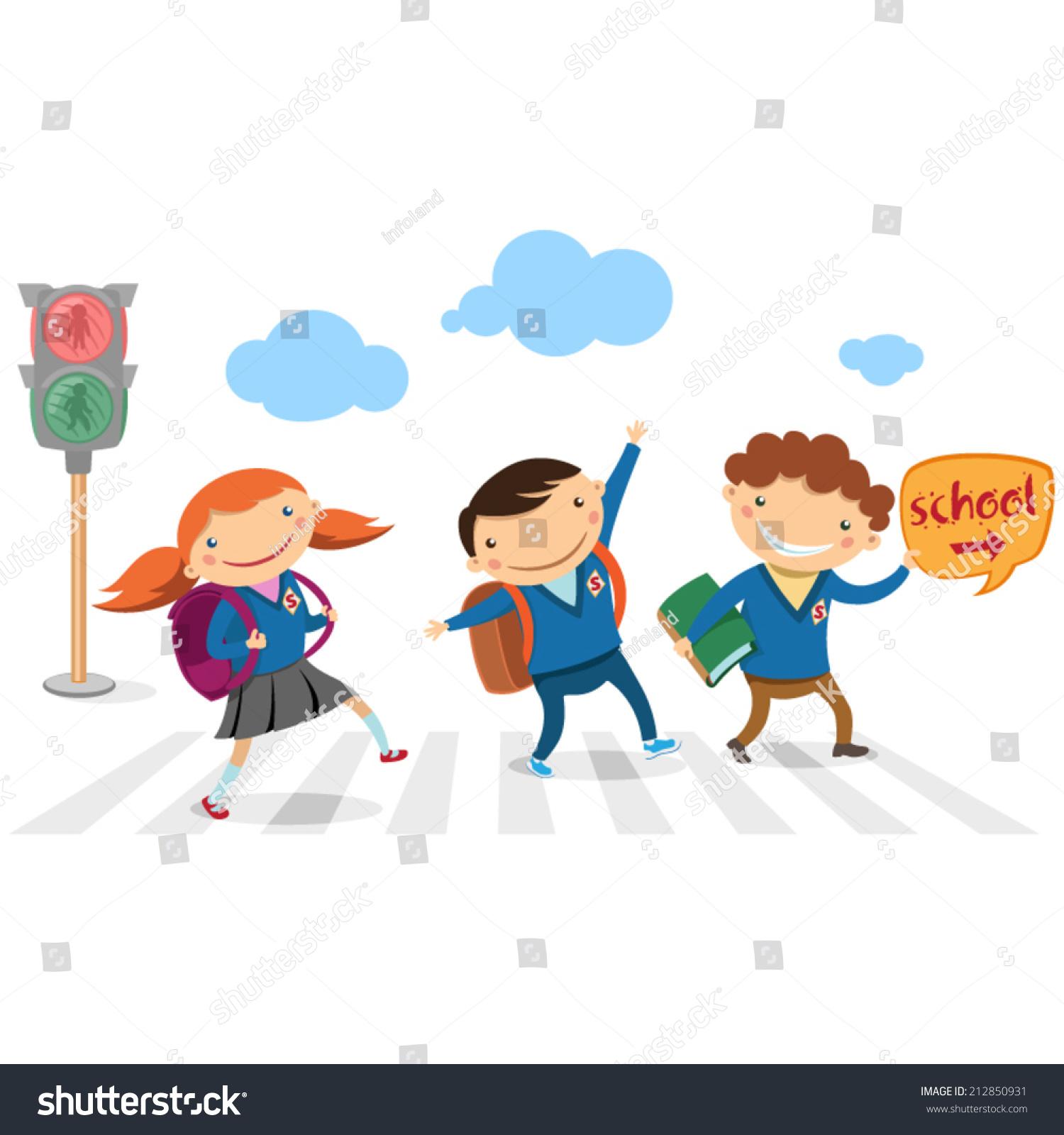 Children Go School Across Road Stock Vector HD Royalty Free