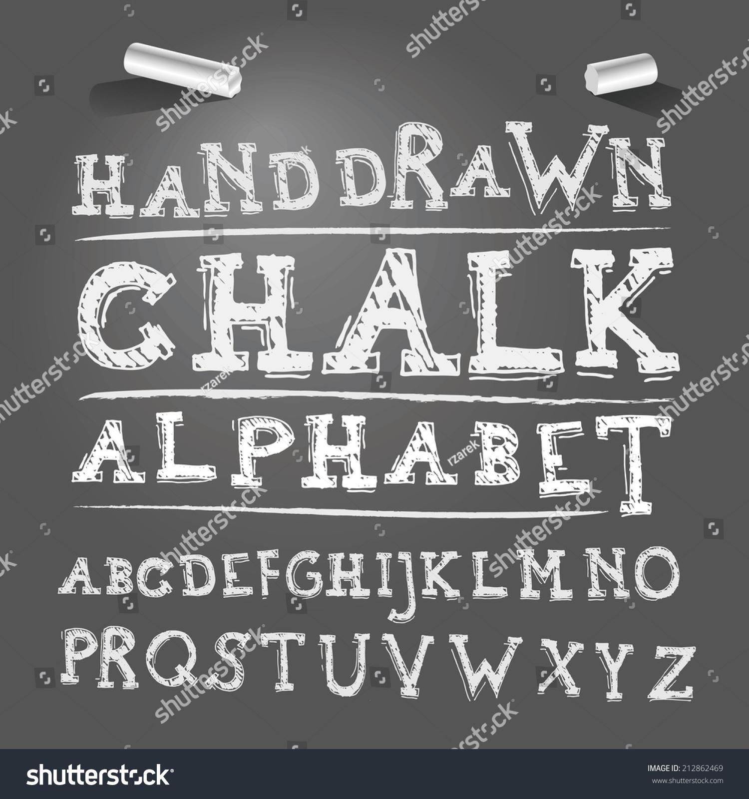 Hand Drawing Chalk Font Vector Illustration Stock Vector 212862469 ...