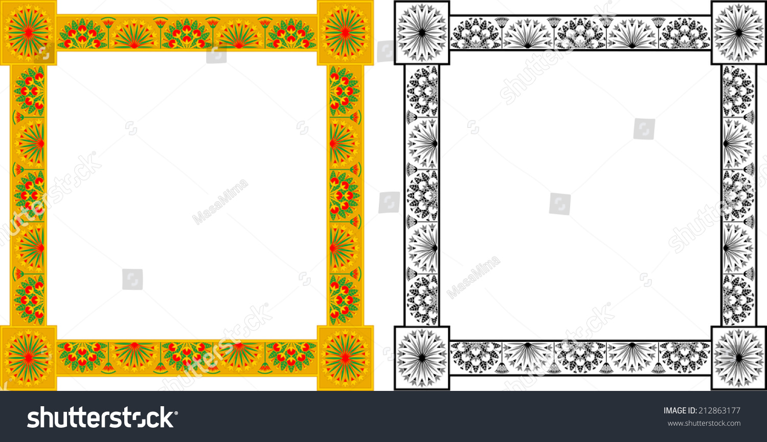 Egyptian Frame Papyrus Bushes Color Monochrome Stock Vector (Royalty ...