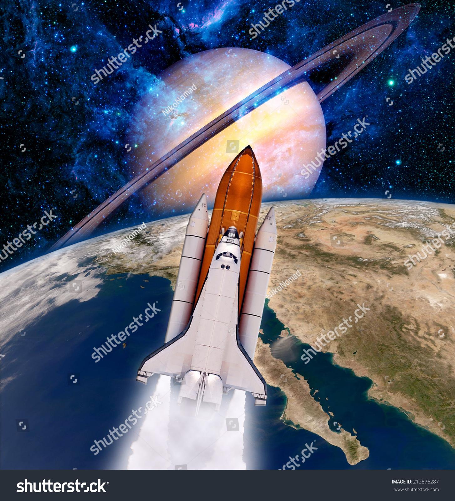 Space Shuttle Rocket Launch Saturn Planet Spaceship ...