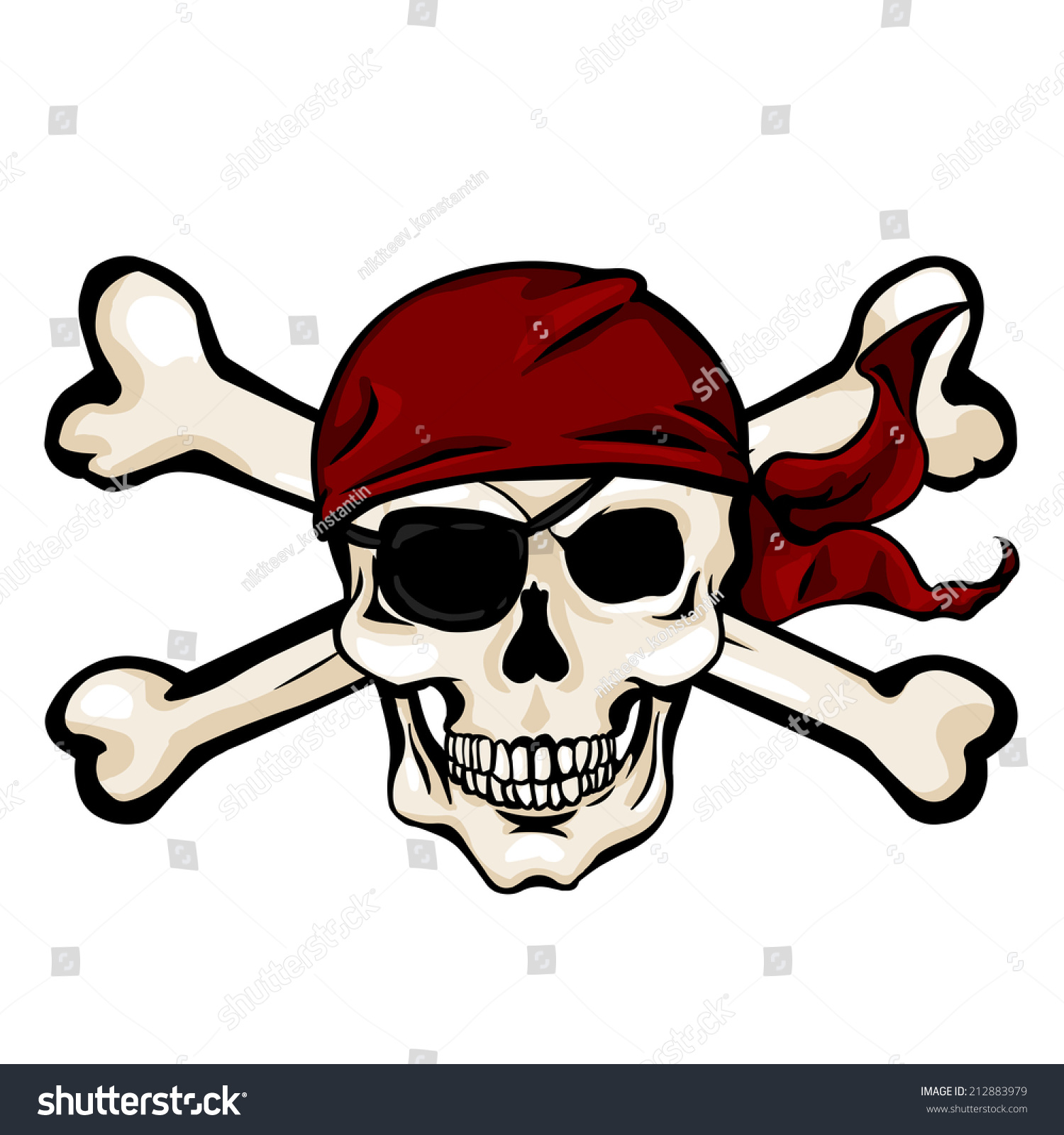 vector single cartoon pirate skull red stock vector