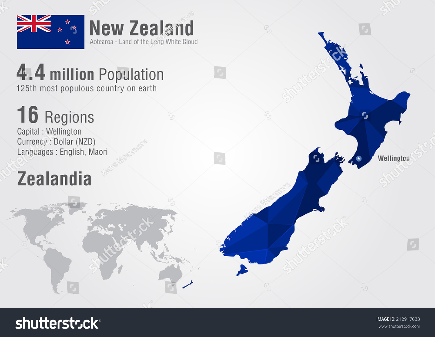 New Zealand World Map Pixel Diamond Stock Vector - World map new zealand