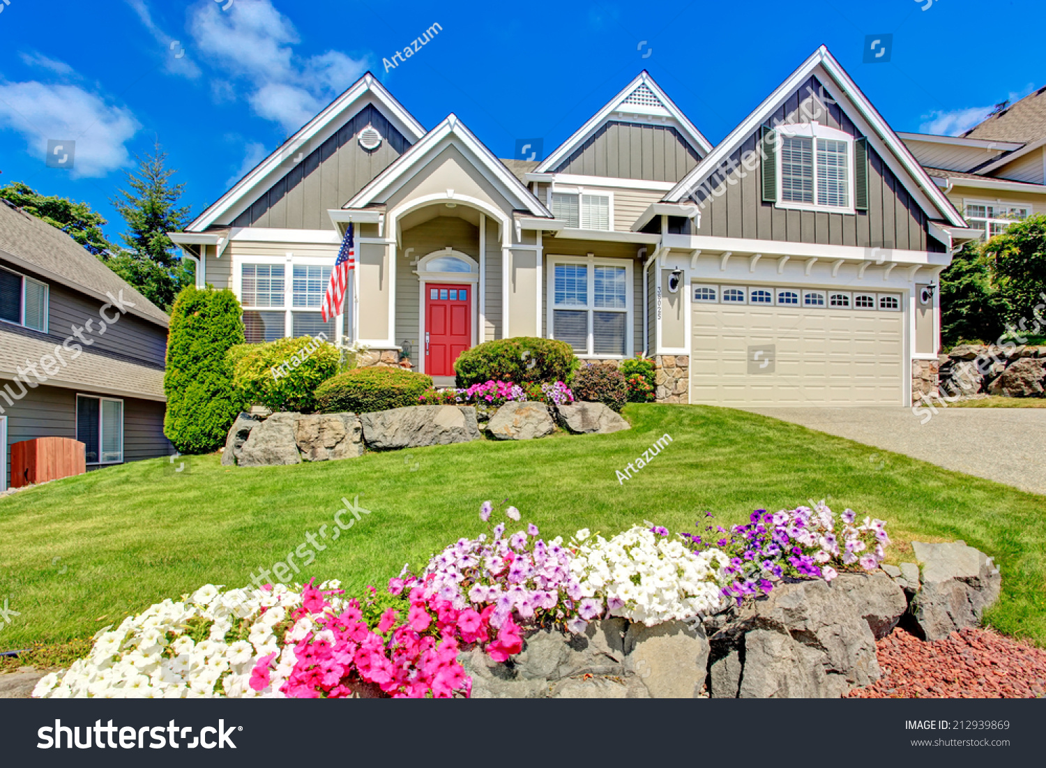 Grey House Exterior Entrance Porch Red Stock Photo Edit Now 212939869