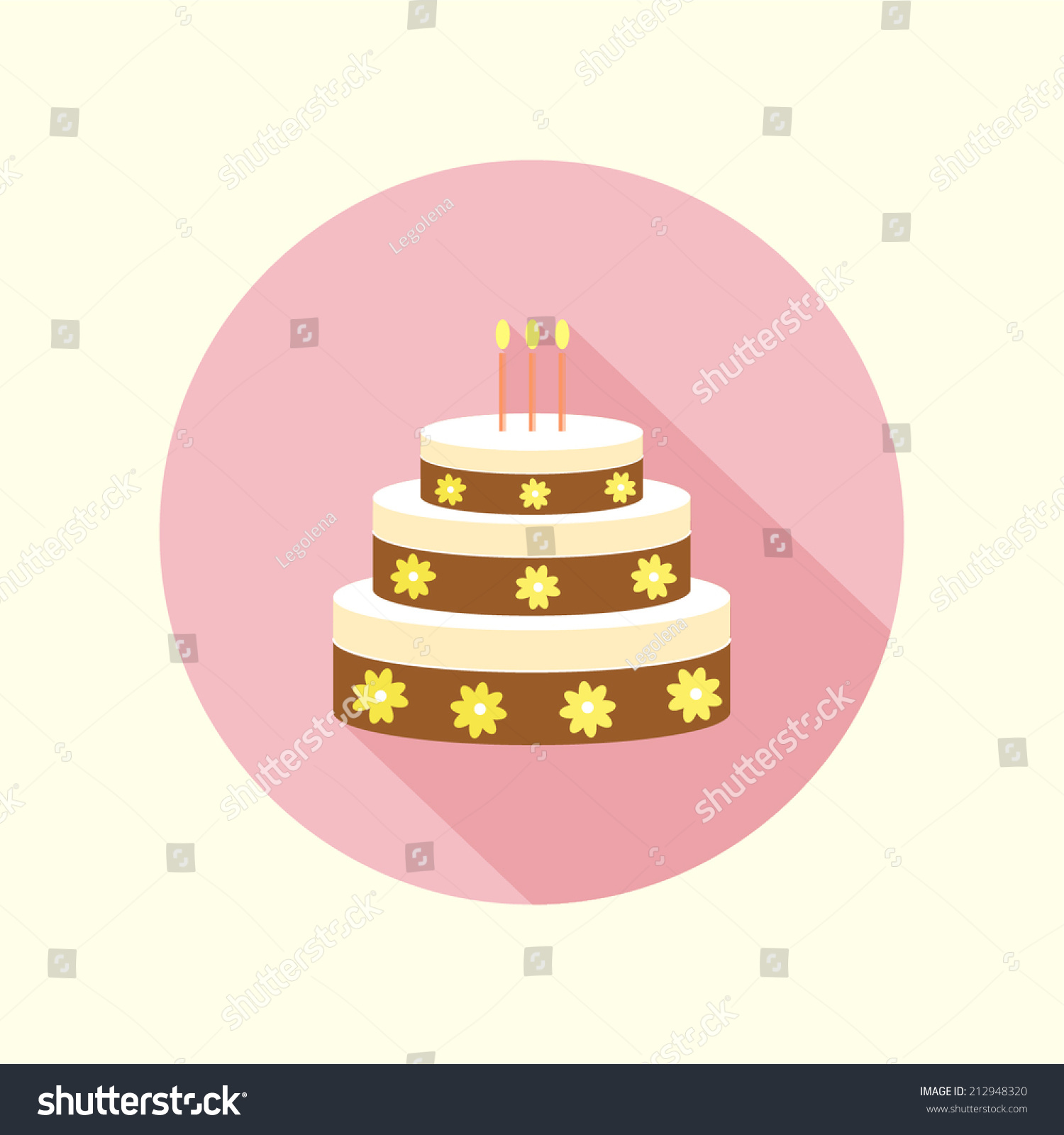 Birthday Cake Fiat Icon. Stock Vector Illustration 212948320 ...