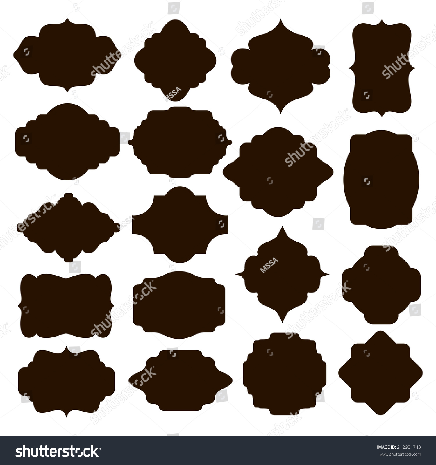 Large Set Vector Black Silhouette Frames Stock Vector ...