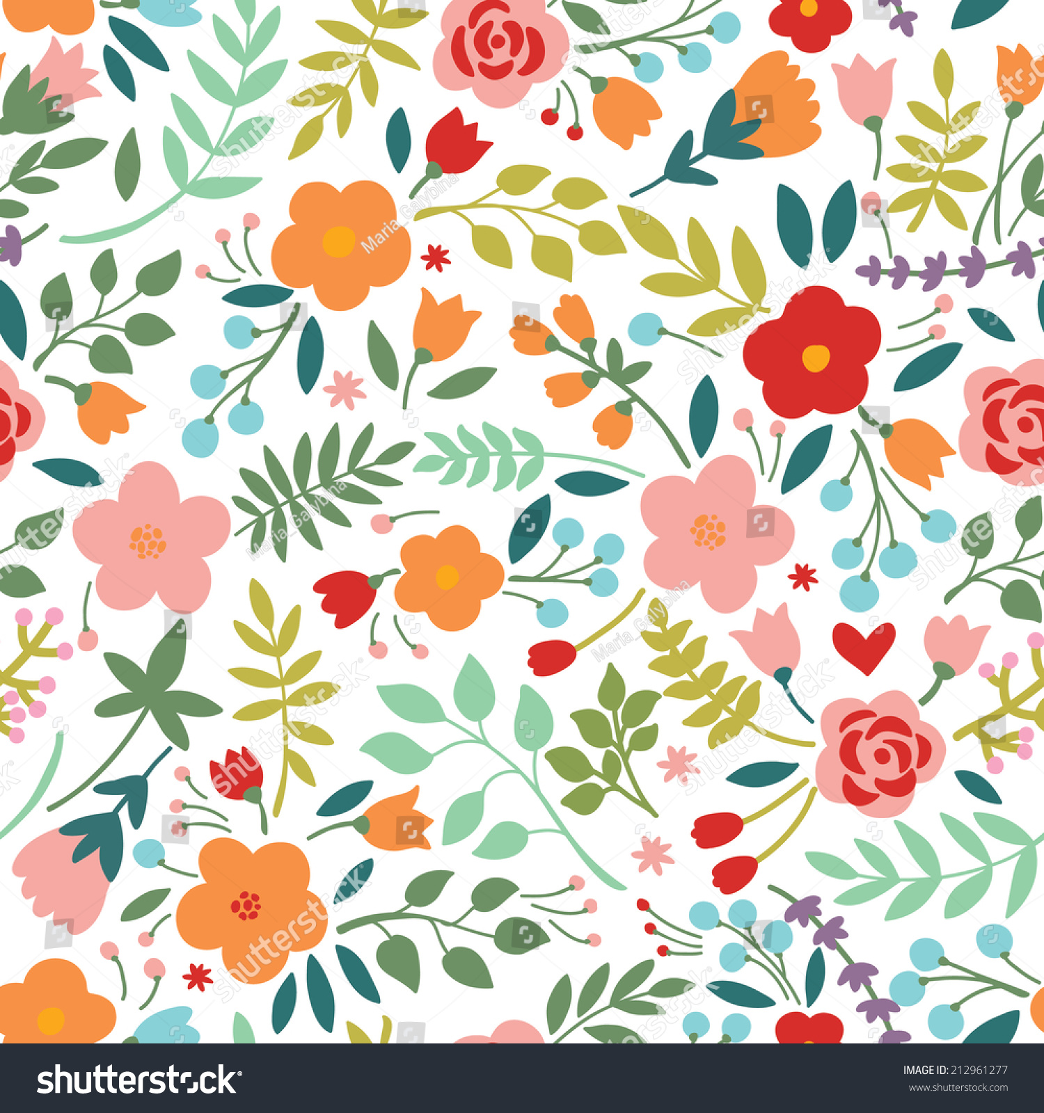 Seamless Pattern Floral Bouquets Can Be Stock Vector Royalty Free