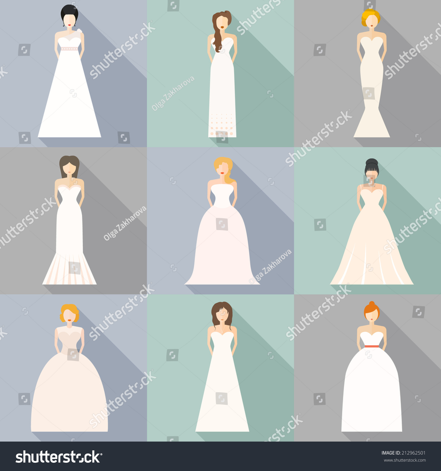 Brides Different Styles Wedding Dresses Made Stock Vector HD ...