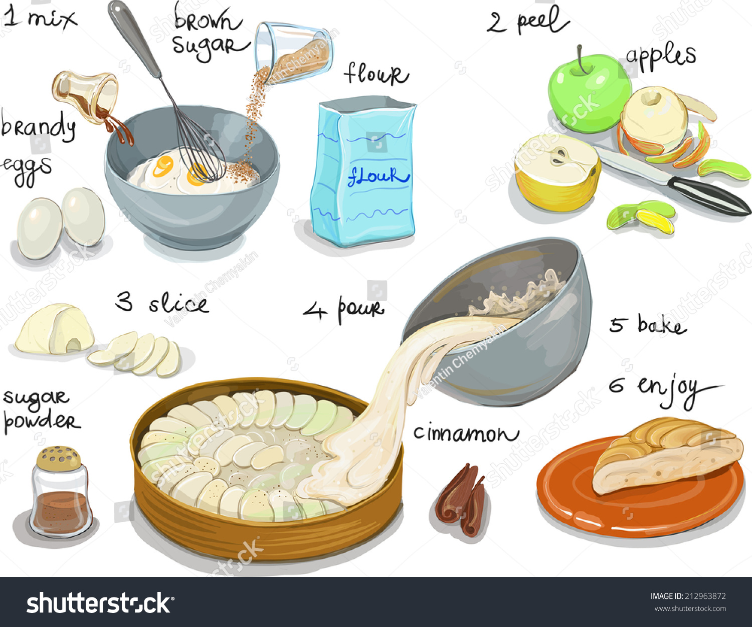 Cake Recipes With Step By Step Images : Apple Pie Step By Step Recipe Stock Vector 212963872 ...