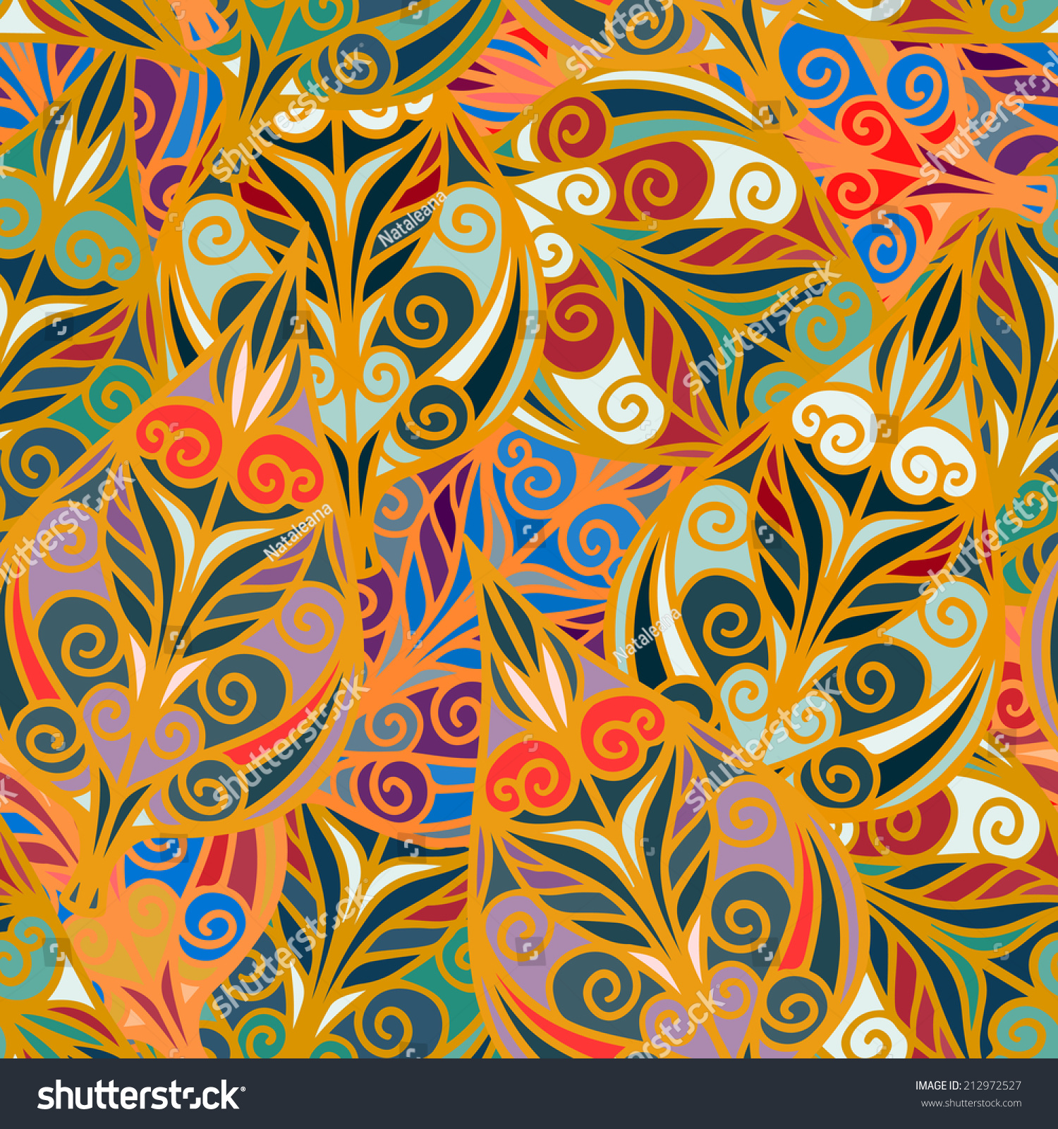 Abstract Ethnic Seamless Pattern Floral Repeating Stock