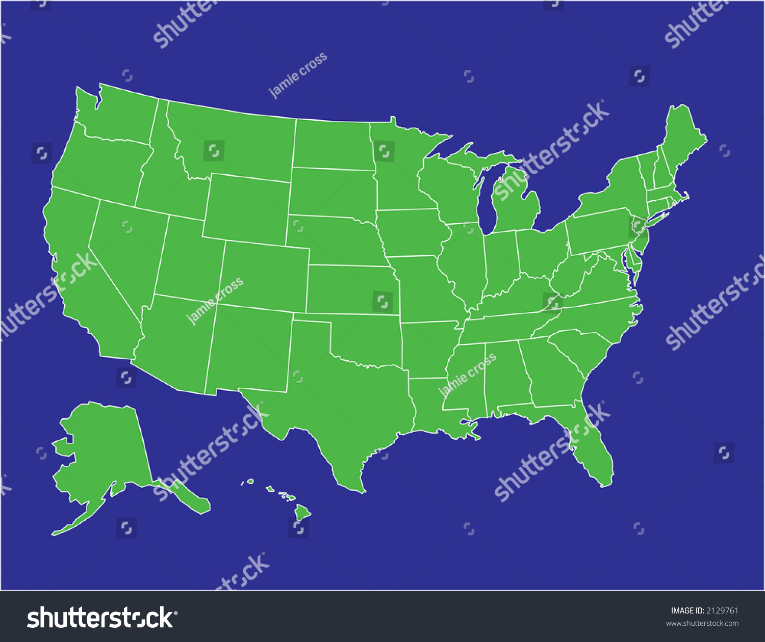 Basic Map United States America Green Stock Vector Royalty Free