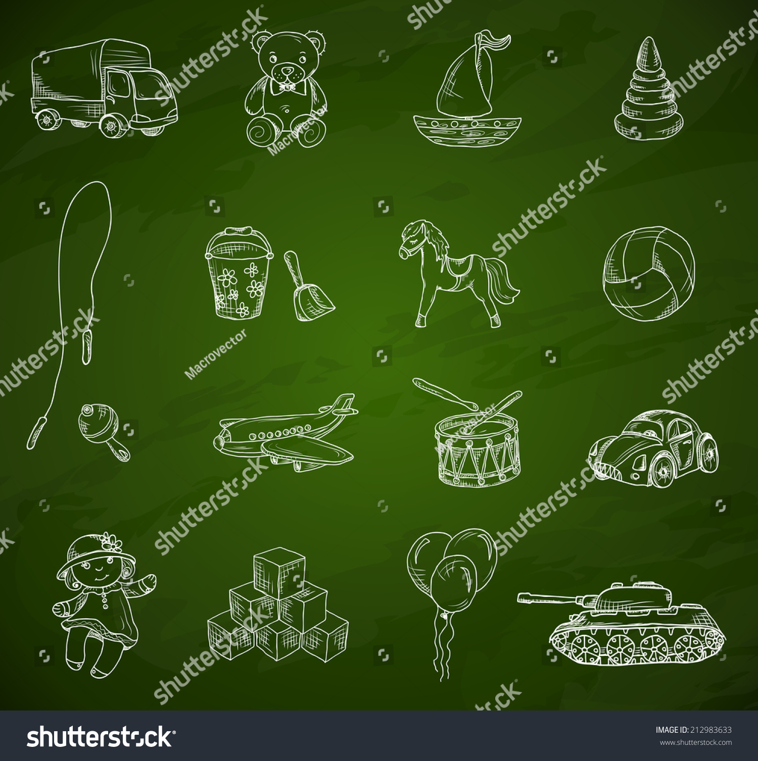 Vintage Kids Toys Sketch Icons Set Stock Vector