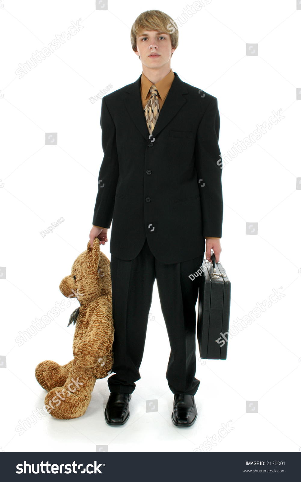 young teen business man briefcase large stock photo  young teen business man briefcase an large bear