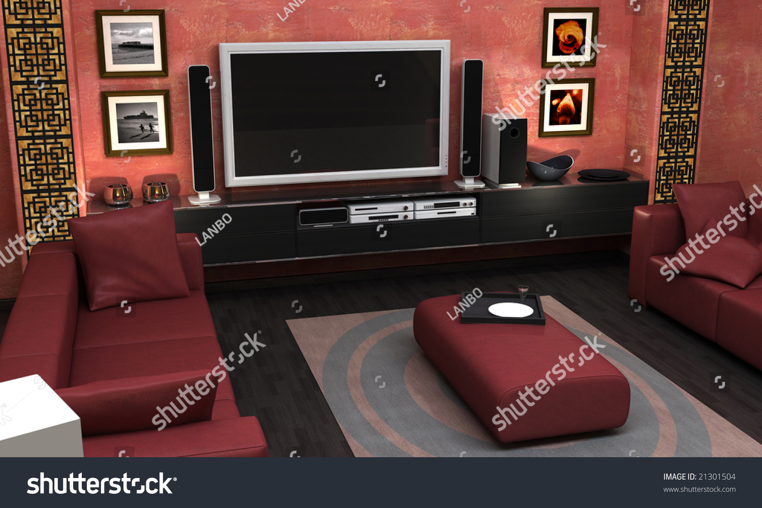 An Interior Visualization Of An Asian Themed Living Room Stock -  asian themed living room