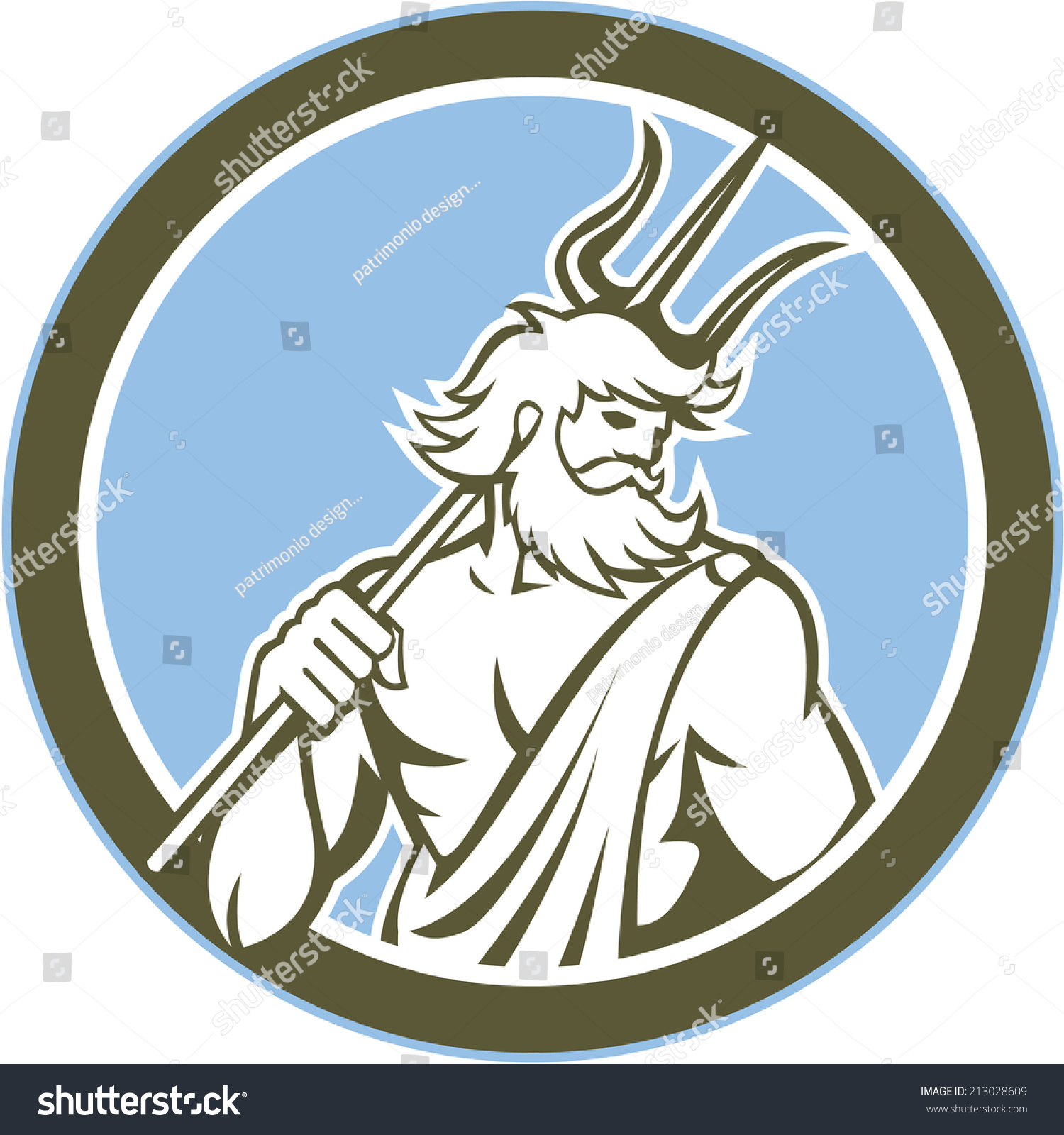 Illustration Of Roman God Of Sea Neptune Poseidon Of Greek Mythology