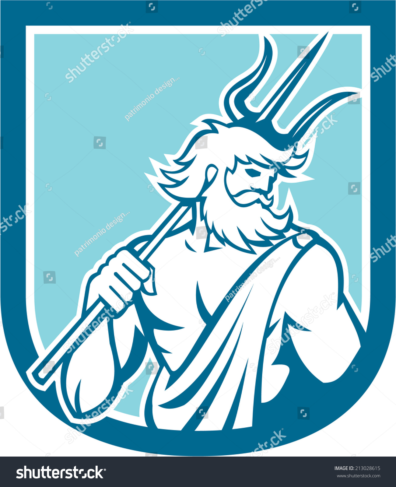 illustration roman god sea neptune poseidon stock illustration