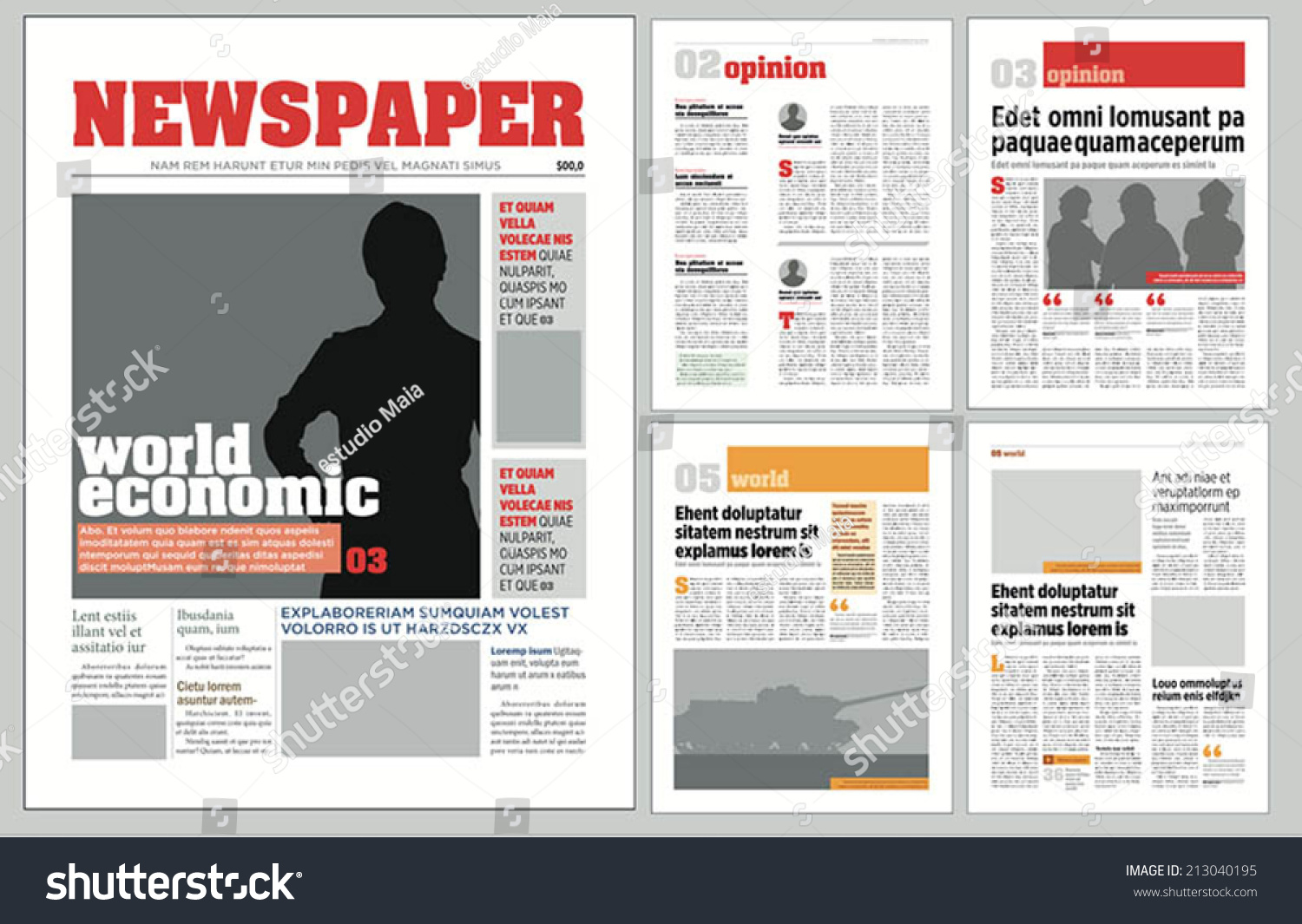 graphical design newspaper template stock vector 213040195 shutterstock. Black Bedroom Furniture Sets. Home Design Ideas