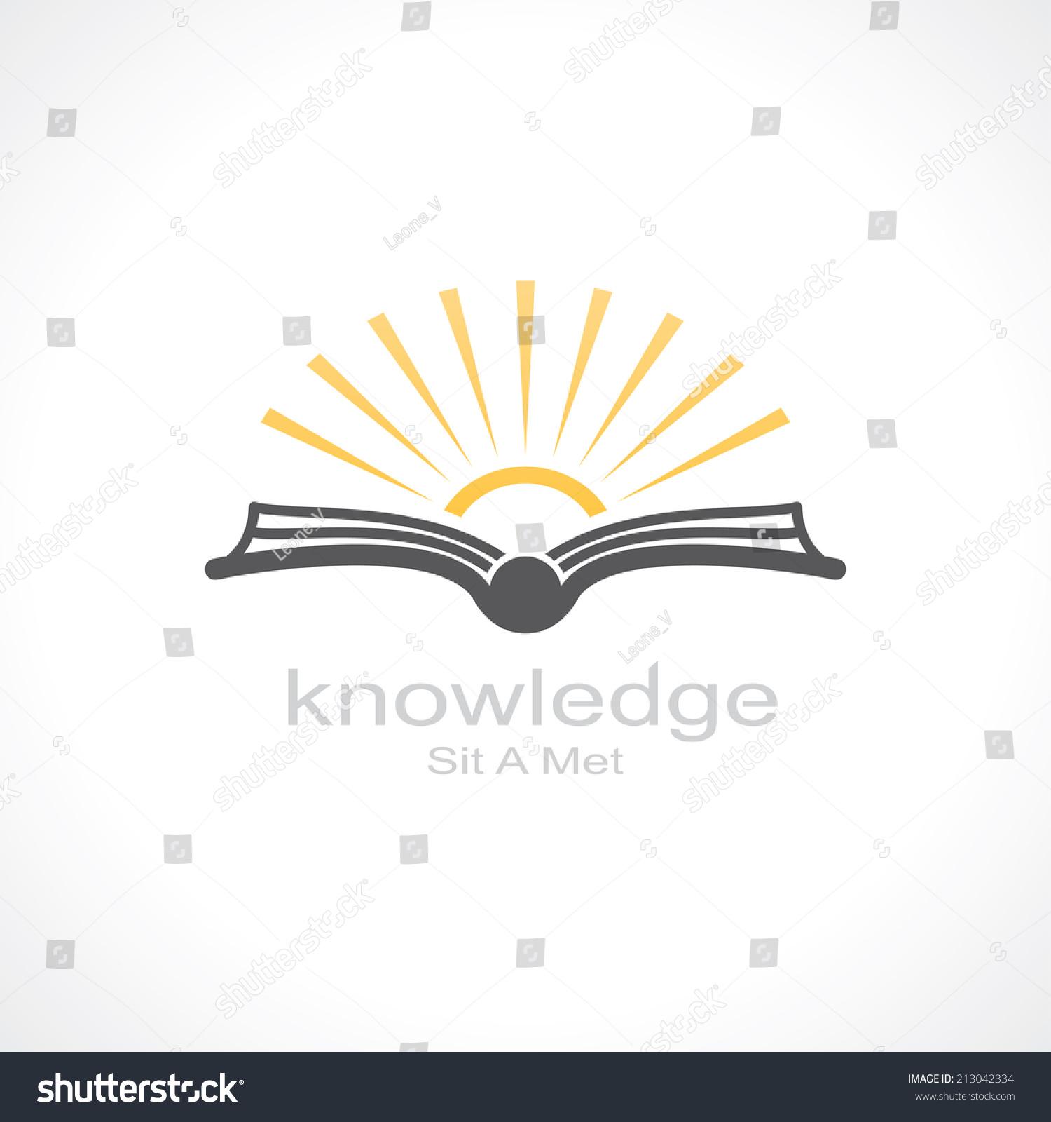 Knowledge Symbol Open Book Sun Template