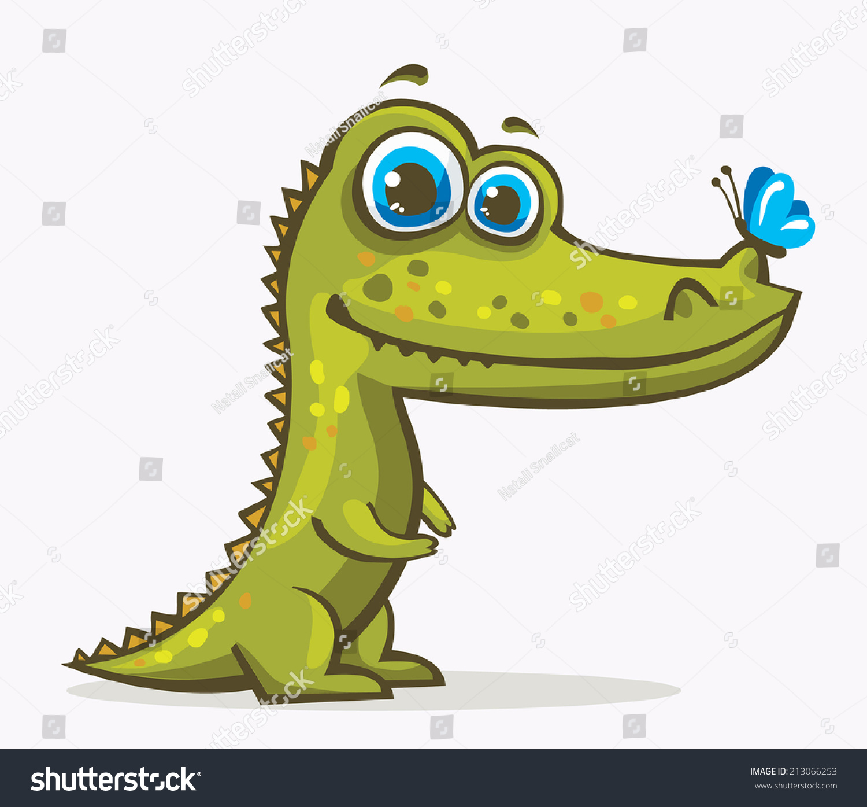Cartoon Green Crocodile Blue Eyes Butterfly Stock Vector ... - photo#22