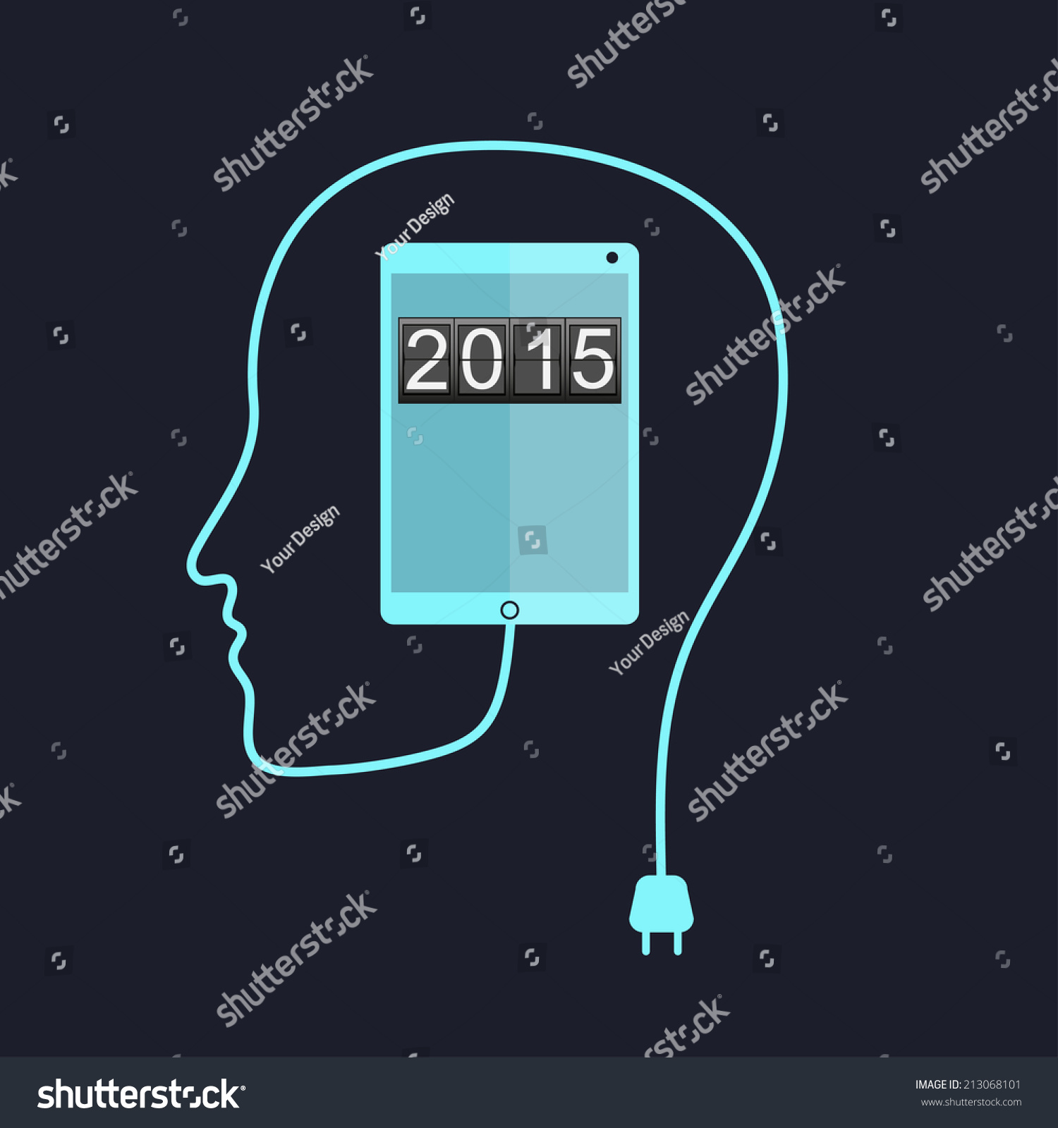 2015 on tablet pc display over stock illustration 213068101 2015 on tablet pc display over matrix background happy new year with departures style voltagebd Gallery