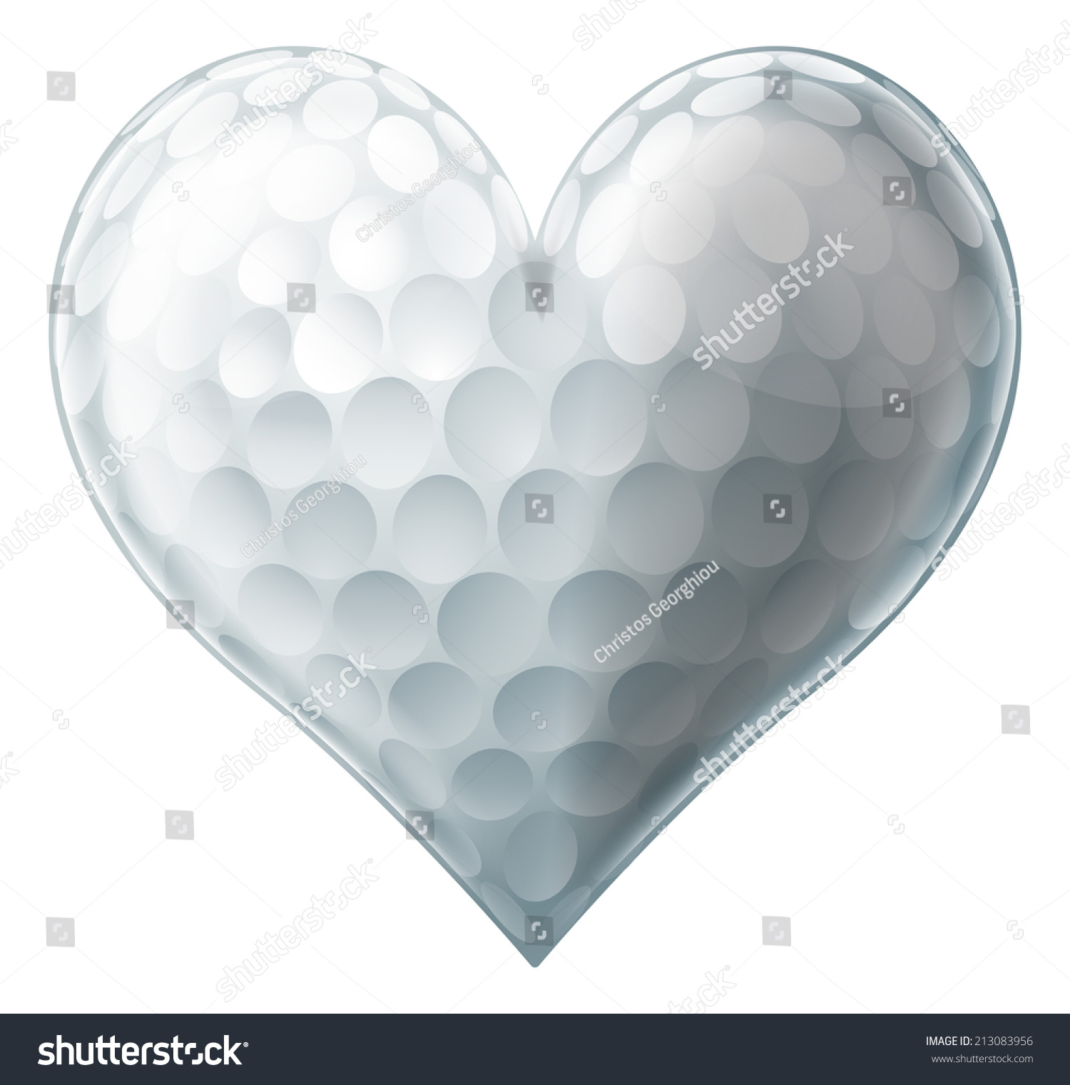 golf ball heart conceptual illustration love stock vector