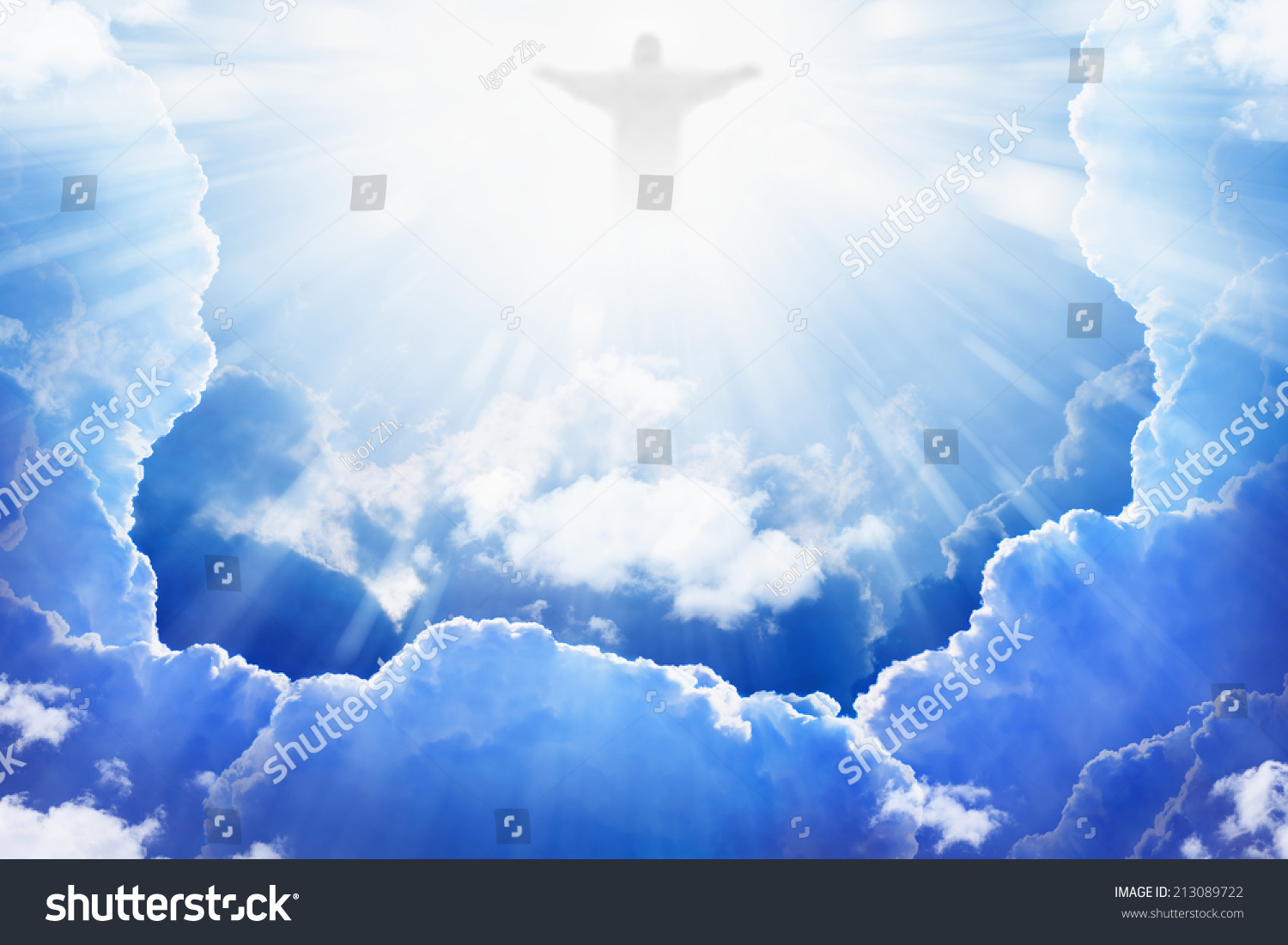 Jesus Christ Blue Sky Clouds Bright | Religion Stock Image 213089722