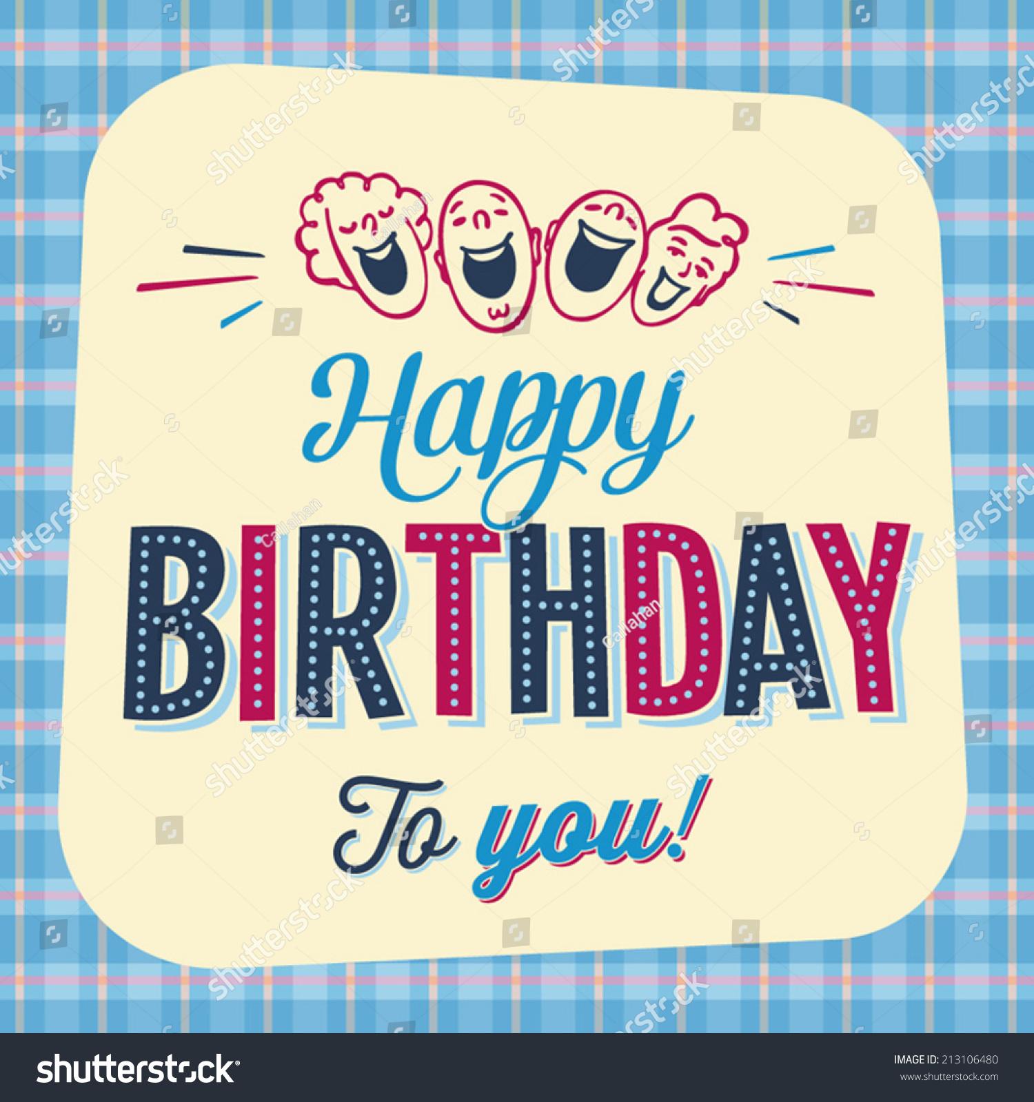 vintage birthday card happy birthday you stock vector, Birthday card