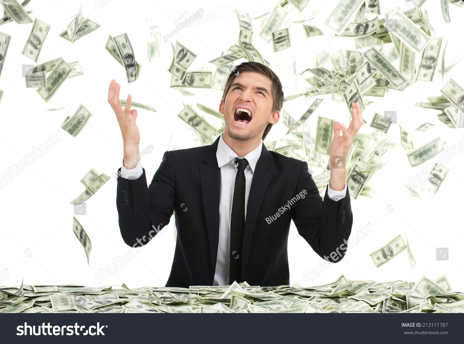 Business Man Throwing Dollar Bills Yelling Stock Photo ...