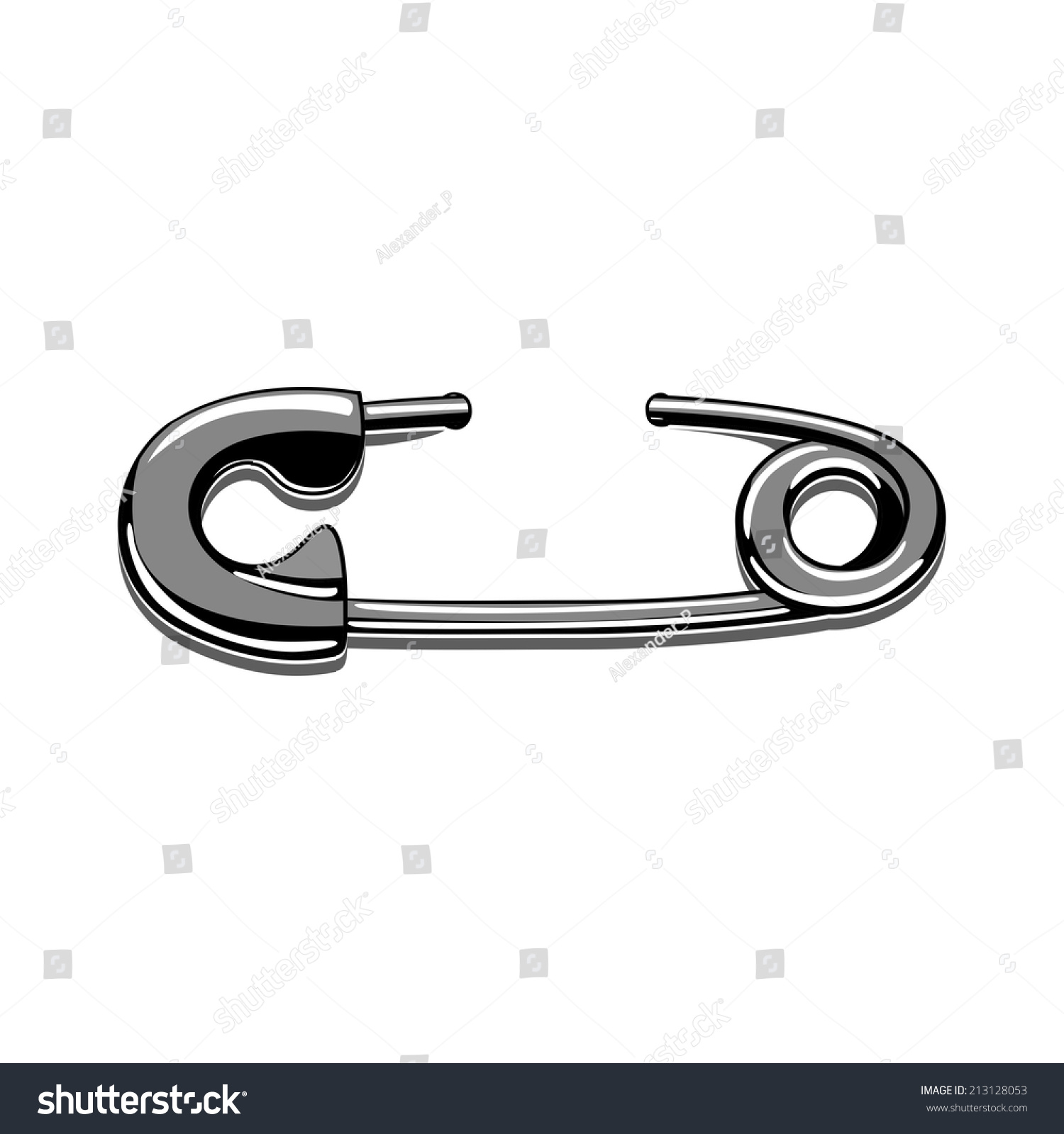 Tattoo safety pin vector stencil