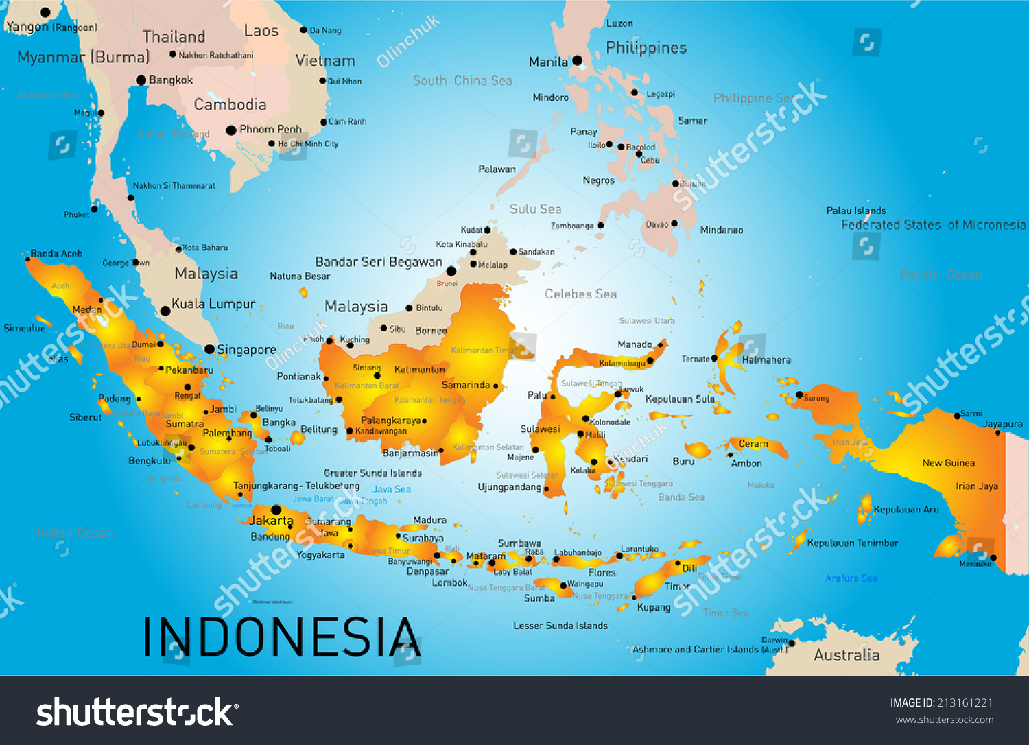 Indonesia country vector color map vectores en stock 213161221 indonesia country vector color map gumiabroncs Gallery